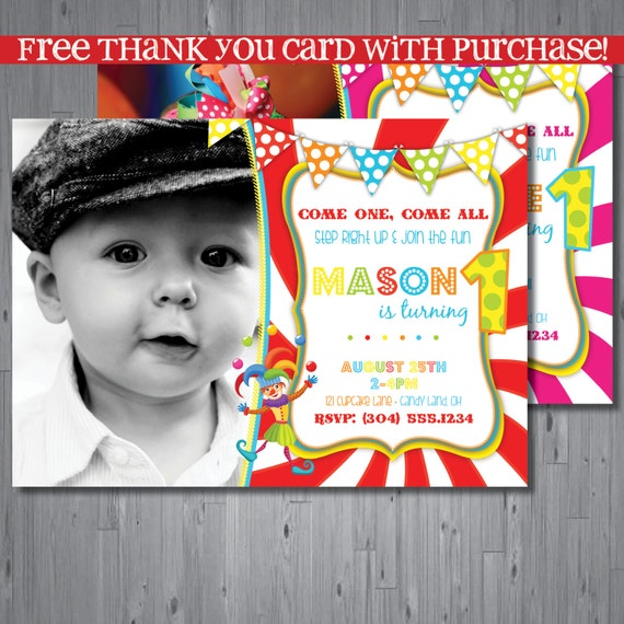 Circus First Birthday Invitations with adorable invitation template