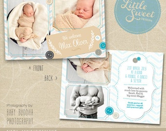 5x7 Birth Announcement Template (Baby Announcement) - Photoshop Template for photographers (BA9B) - INSTANT DOWNLOAD