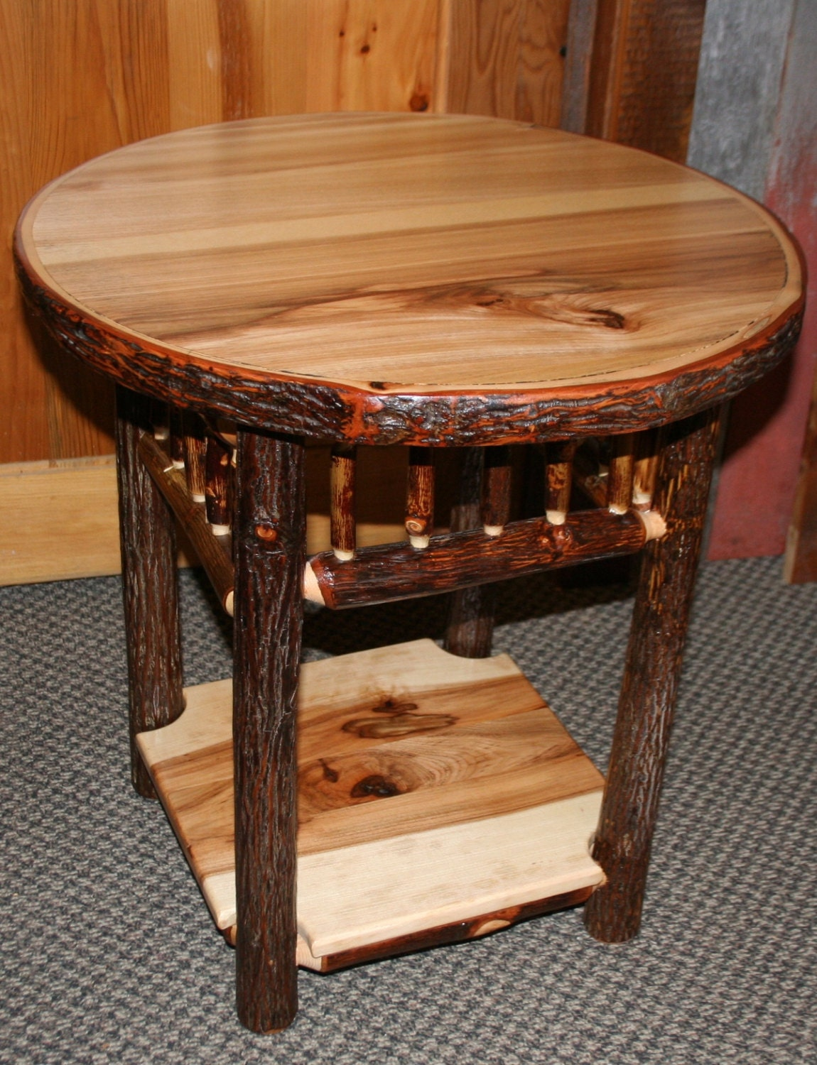 Log Side Table ~ Hickory log side table old fashioned