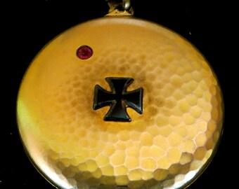 Original 1910's World War I German Military Gold Filled Photo Locket Necklace - Free Shipping