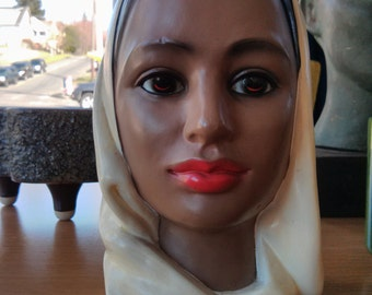 Vintage Chalkware Bust - Young Exotic Woman