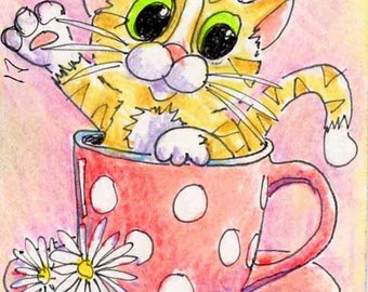 Original ACEO Kitty in Teacup, Colored Pencil Drawing, Title: Tea for Two