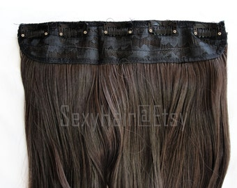 "24"" Medium Brown Hair Extension, Chocolate Brown Hair Extensions, Thick Hair, One Piece Multi-Weft Clip in Extension - Volume and Length"
