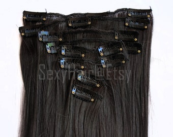 "24"" Dark Brown Clip in Extensions, Brown Hair, Clip On, Full Head, Clip On, Thick Hair, Long Hair, Volume, Full Head - 8 Piece Set"
