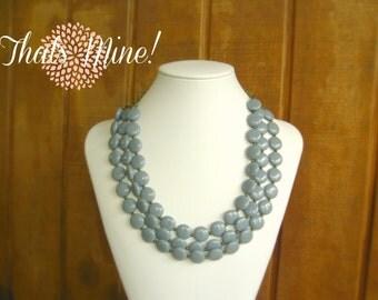 Grey statement  necklace, Vintage light grey statement necklace, multi strand statement necklace