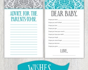 Printable baby shower sheets - Damask
