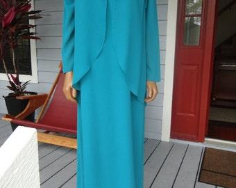 Vintage Miss Elliette Maxi Dress Gown Teal Chiffon 60s Goddess Sequins Glam Collar Medium