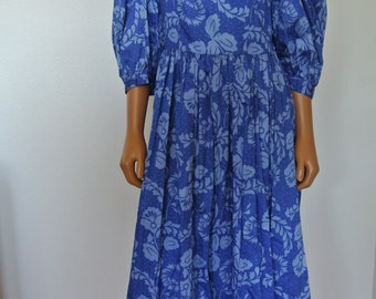 Vintage 60s Sundress Blue Floral with Poet Sleeves Full Skirt Small