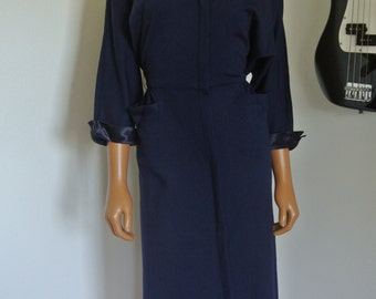 1940s Jerry Gilden Spectator Wool Wiggle Dress Trimmed in Satin / M / L