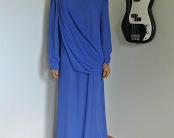 Vintage 1970s Cobalt Blue Chiffon Draped Goddess Maxi Dress / M