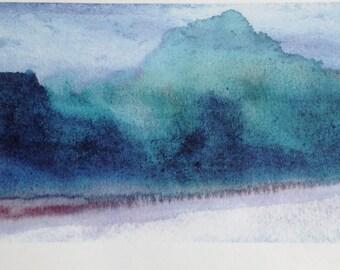 Indigo Watercolour Print, Watercolour Wall Art Print, Abstract Painting, Modern Minimalist, Navy Blue Decor, Dark Blue, Ink, Large Wall Art.