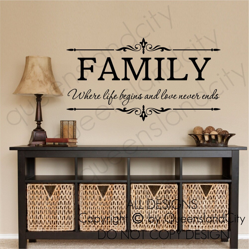family where life begins love never ends wall quote floral. Black Bedroom Furniture Sets. Home Design Ideas
