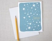 Starry Sky Thank You Note Card  //  Hand Drawn Stars  //  Illustrated Greeting Card  //  Modern Stationery