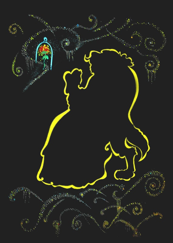 Items Similar To Beauty And The Beast Silhouette On Etsy