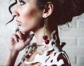 Earrings red Cherries -Unique earrings - Rustic earrings - Natural jewelry - Berries earrings - Cherries jewelry