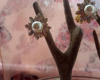 Faux Pearl and Rhinestone Goldtone Clip On Earrings
