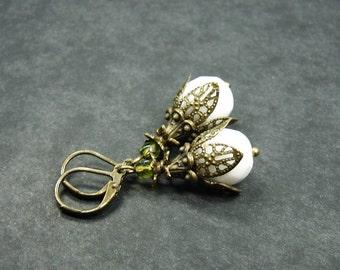 Snow flowers earrings bronze