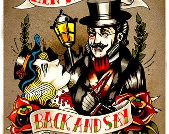 Jack the Ripper Tattoo Flash Print size A5
