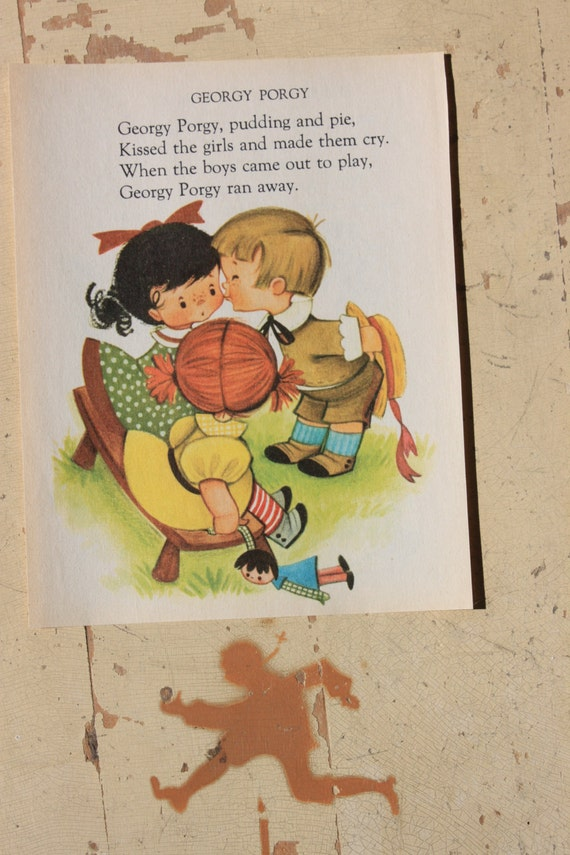 Book Page Nursery Rhyme Georgy Porgy Children S