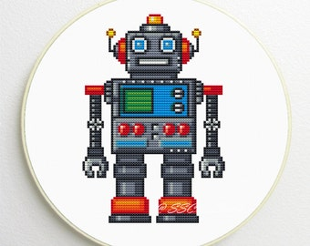 Counted Cross Stitch Pattern cute robot PDF instant download