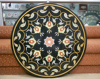 Black Marble Inlay coffee Table top / pietra dura stone inlaid wall deor