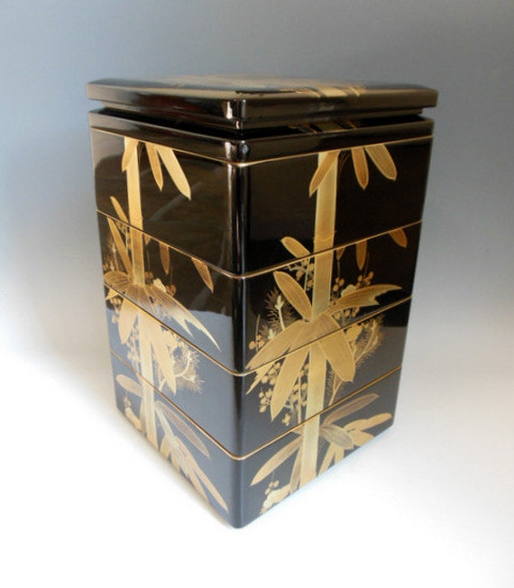 items similar to japanese lacquer bento stacking lunch box on etsy. Black Bedroom Furniture Sets. Home Design Ideas