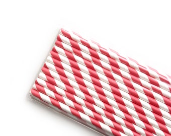 Firetruck Red Striped Paper Straws (25)