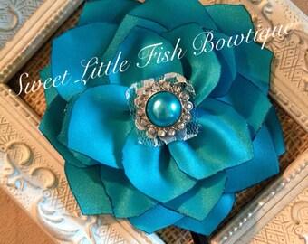 Teal and Turquoise Satin Vintage Flower Headband