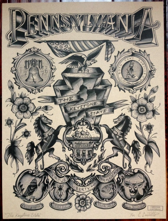 Items similar to pennsylvania the keystone state on etsy for Tattoo convention pa