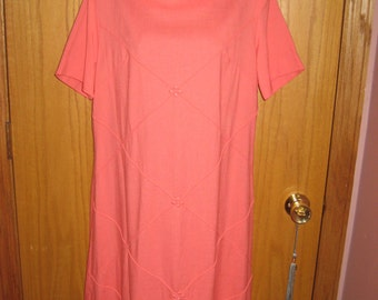 Vintage Peach Linen Dress Size Large