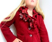 Girls red jacket, upcycled wool, recycled sweater, plaid ruffles, covered buttons, tween, sz 10 , 12