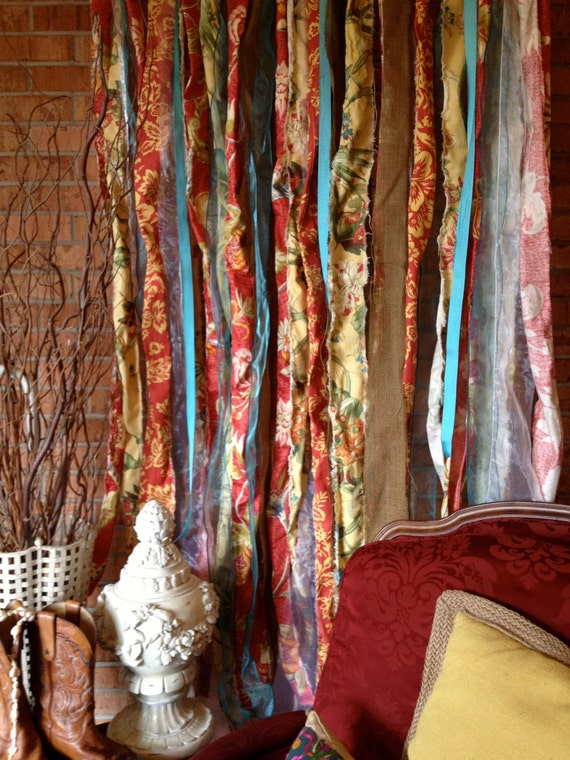 Items Similar To Boho Fabric Garland Curtain Backdrop