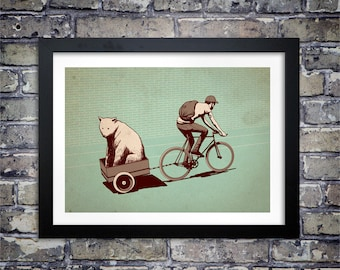 Fixie Bear print by Adams Carvalho