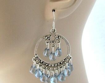 Baby Blue Boho Chandelier Earrings, Bohemian Earrings, Blue dangles, Blue Teardrops, Light Blue Chandelier earrings