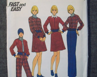 Vintage 1970s clothing pattern. Butterick 3862. Size 16.  Uncut and factory folded.