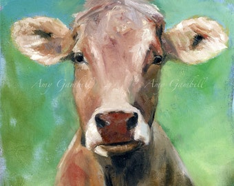 Cow pet portrait print custom painting gift professional art print Various sizes COW painting
