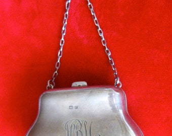 Victorian Sterling Silver Coin Purse With Original Lining