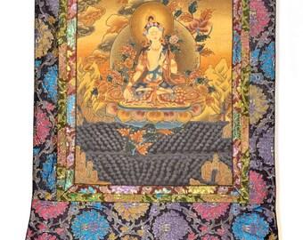 "White Tara - ""The Great Mother"" Buddhist Thangka painting"