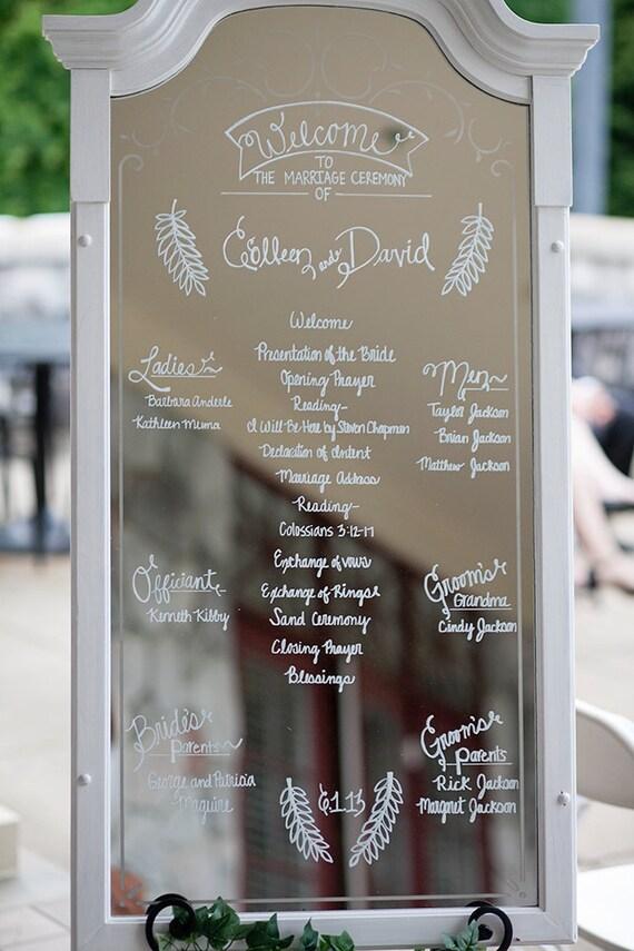Framed Mirror Wedding Ceremony Program Modern White Romantic