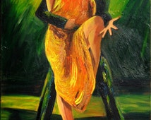 Tango art print on paper-  Couple dancing Argentine tango- Orange and gold dress with black and green background