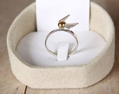 Harry Potter-Golden Snitch Ring-Handmade Sterling Silver 925-Glossy Finish-Adjustable Ring