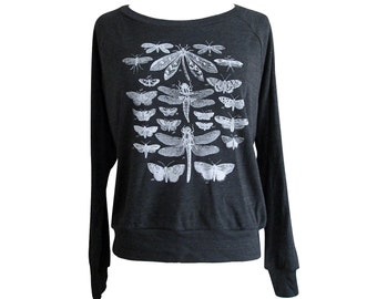 Insect Raglan Sweater - Winged Insects Moth Butterfly American Apparel SOFT vintage feel - Available in sizes S, M, L