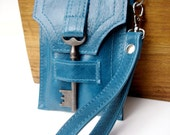 Leather Cell Phone and Gadget Case with Antique Key and Wrist Strap - Glazed Turquoise - MADE TO ORDER iPhone