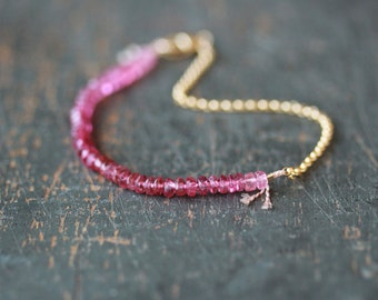 Pink Tourmaline Beaded Bracelet, Ombre Gemstone Color Spectrum, Delicate Bracelet, 14k Gold Filled Chain, Ombre Bracelet, Layering Jewelry
