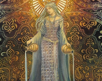 The Star Goddess of Hope Mythological Tarot Art ACEO Print Pagan Mythology Psychedelic Bohemian Gypsy Goddess Art