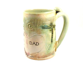 Large DAD coffee mug, DAD pottery cup, beer mug, stein, man's tankard, pottery and ceramics, Blue Sky Pottery, Grandpa, Ceramics and Pottery