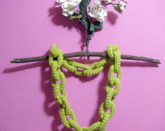 Lime Green Crocheted Chain Link Eternity Scarf Necklace