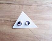 petite Purple Black Geometry earrings studs silver or bronze