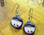 Turquoise & Polymer Clay SEAGULL Earrings - Perfect Beach Photo Jewelry