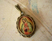 Virgin Mary Charm Our Lady of Guadalupe pendant religious medal resin cab Antique Bronze lot of 1